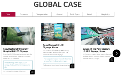 The Global Case Studies page redirected from LG Digital Connect 2020 which shows articles on real-world examples of how LG's signage solutions are being used