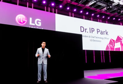 LG's president & CTO Dr. I.P. Park introduces LG Electronics' Life's Good from Home vision for the future in hologram form at IFA 2020