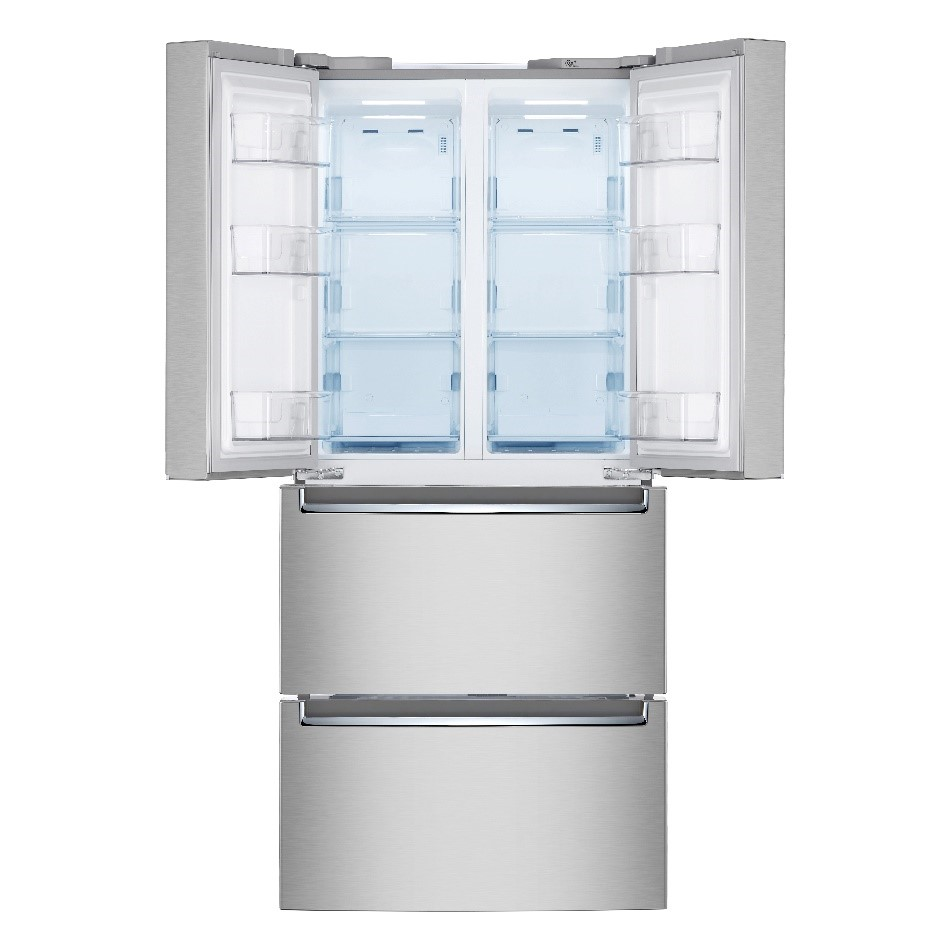 A front view of LG's kimchi refrigerator in silver with its top doors opened wide to showcase its interior compartments