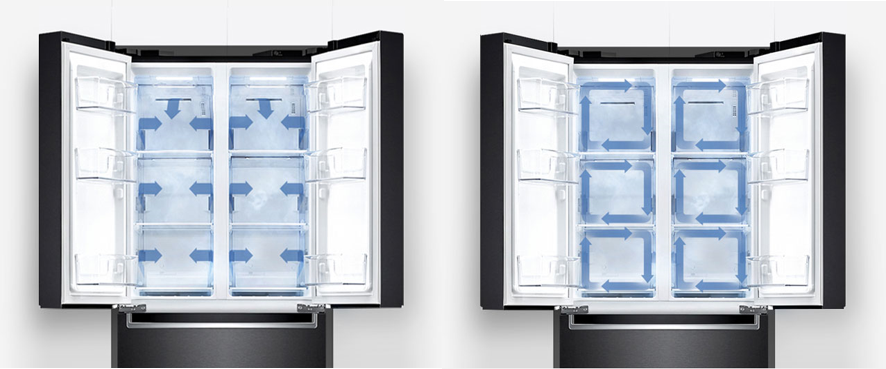Front view of the top half of LG's kimchi refrigerator in black with both doors open and arrows illustrating where its control system circulates cold air every 6 minutes through 20 air vents