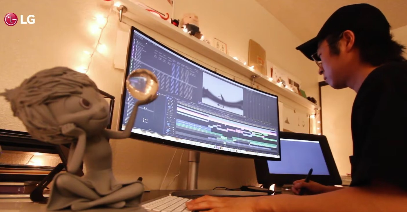 Erick Oh, a former Pixar animator, working on the UltraWide monitor which allows him to get all the little details and every single hue exactly right