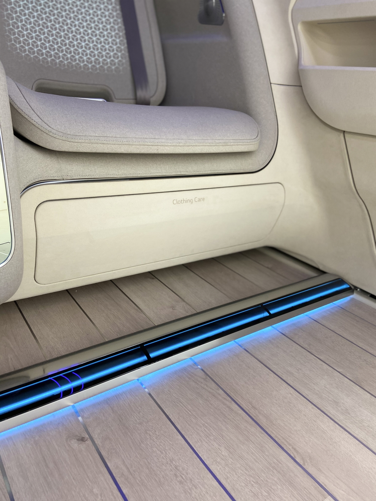 The Clothing Care compartment located under the seat where clothes can be kept neat and wrinkle-free during the drive