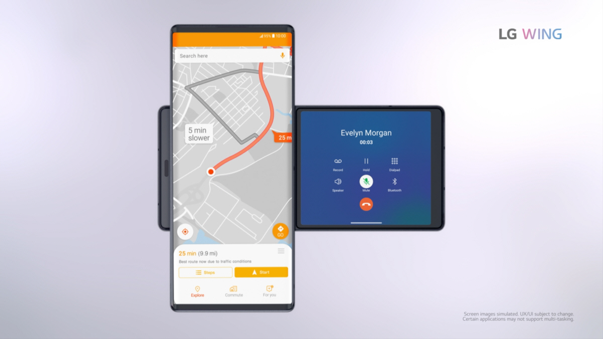 Screenshot of the LG WING product video, displaying LG WING in Swivel Mode with the GPS on the Main Screen and call feature on the Second Screen