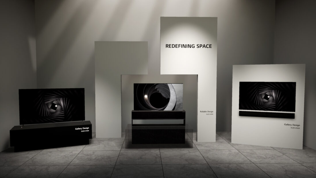 LG's Gallery Design and Rollable TVs showcased inside the Redefining Space of the virtual tour