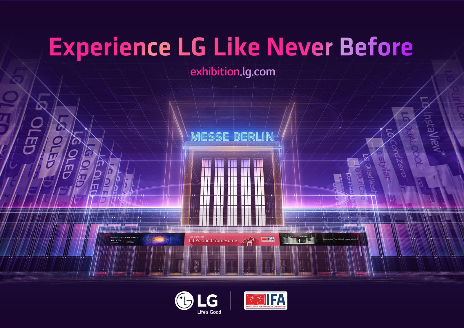The poster for LG's IFA 2020 information portal with the phrase 'Experience LG Like Never Before' displayed
