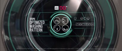 An image on the washer's door explaining step 3 of the AI Direct Drive™ within LG TurboWash™ 360