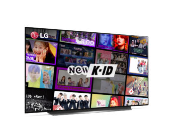 LG Smart TV displaying the NEW K-ID logo and the wide selection of viewing options on offer to celebrate the new partnership that brings the channel to LG TVs