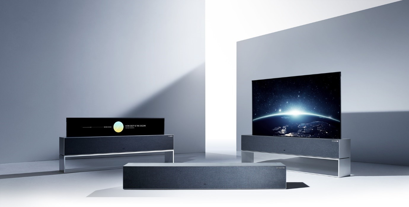 Three LG SIGNATURE OLED R TVs displayed to show off its three viewing modes: Full View, Line View and Zero View