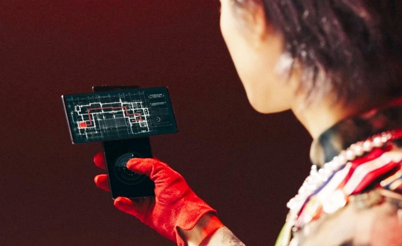Taeyong, member of K-pop supergroup SuperM, checking the map on his LG WING in Swivel Mode during SuperM's music video