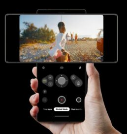 LG Wing in Swivel Mode being used to capture a video, with buttons on the Second Screen that let the user switch between multiple camera features like its Gimbal Mode and Dual Recording