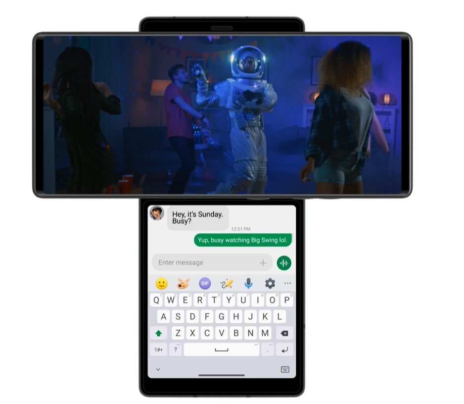LG WING in its Swivel Mode allows users to send text messages on the Second Screen while simultaneously watching a video on the main display