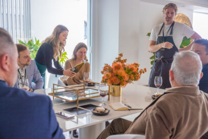 Chef Darren Robertson and Alex Anderson, Good Pair Days' sommelier, meet guests at their table during LG's Connecting Australia campaign