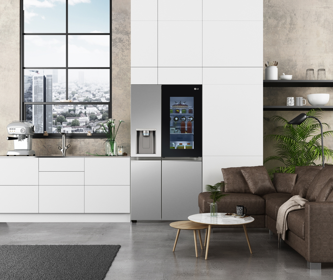 LG InstaView seamlessly fits into a modern kitchen