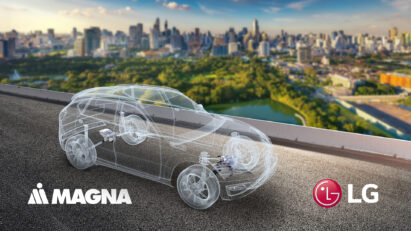 Illustration of a see-through electric vehicle cruising past the city skyline of Chongqing during the day, with the logos of LG and Magna below