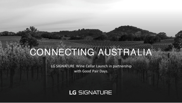 A promotional image showing an Australian vineyard to celebrate LG SIGNATURE's Connecting Australia campaign with Good Pair Days