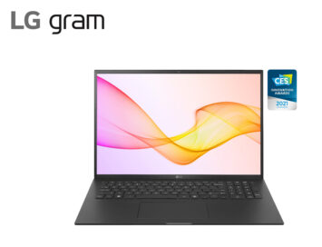 LG gram in black with is stylish new design beside the CES 2021 Innovation Awards Honoree logo