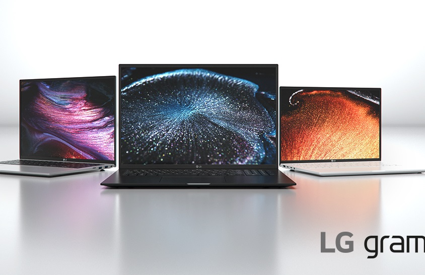 LG gram's new lineup for 2021 in all three colors - silver, black and white