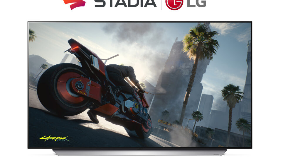 Front view of LG 48 inch OLED TV C1 displaying motorcycle gameplay from hit video game Cyberpunk 2077, which is enabled by Google Stadia