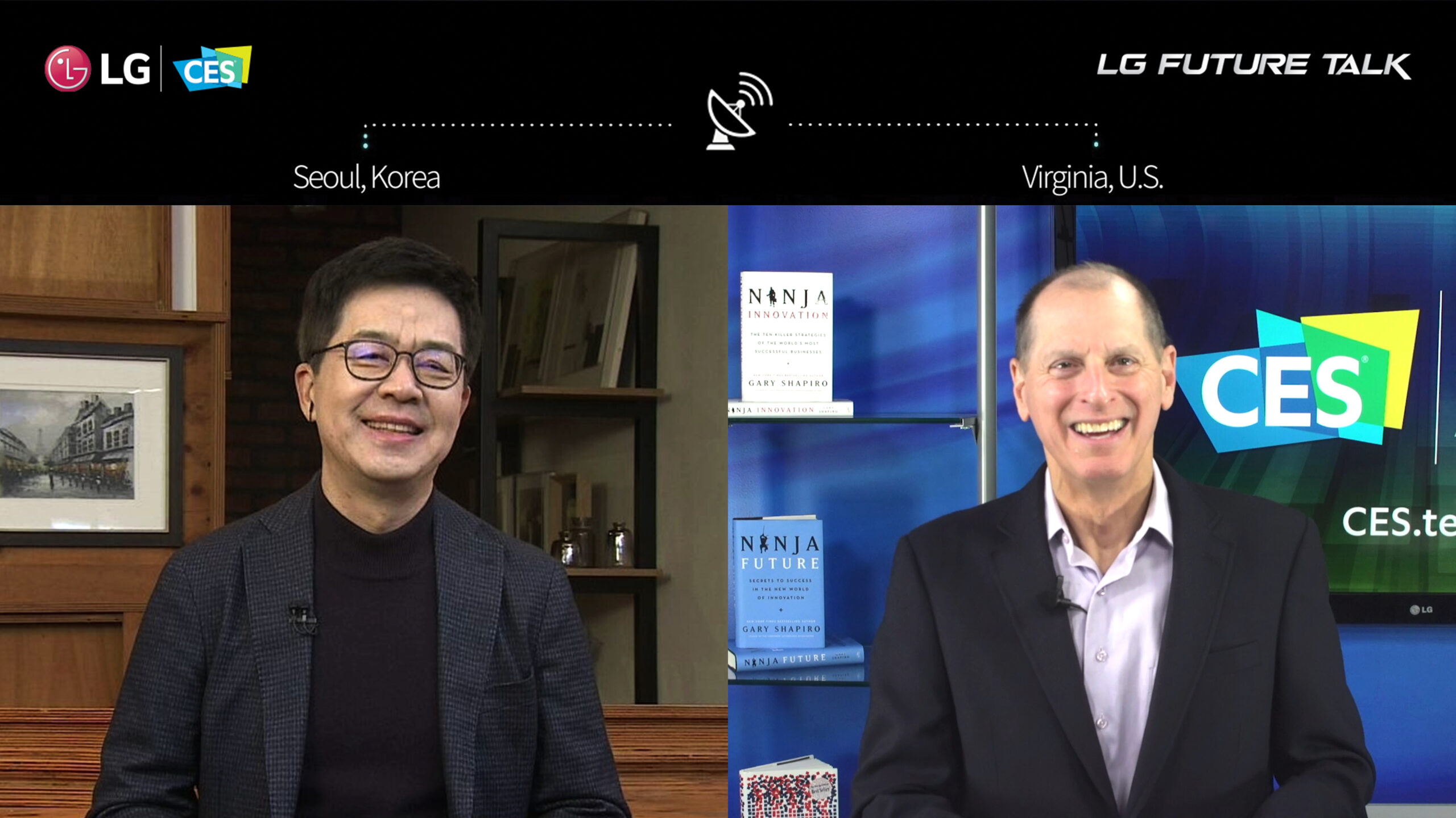 Dr. I.P. Park, president and CTO of LG Electronics, and Gary Shapiro, president and CEO of CTA, discussing the growing power of partnerships across disciplines and industries to deliver what is right for consumers via an LG Future Talk video call.