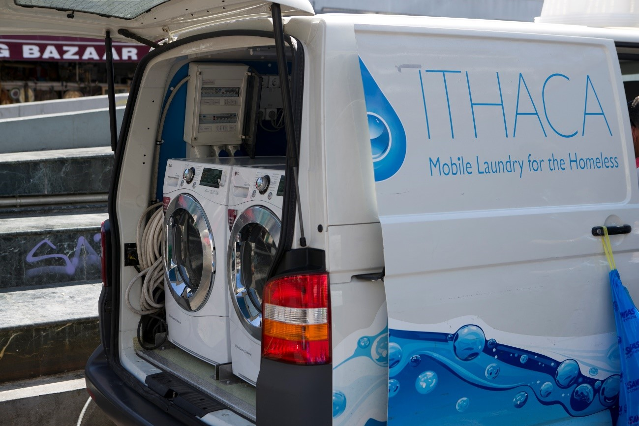 Ithaca's van contains two washing machines and dryers donated by LG, where the homeless can visit and have their laundry done fast.