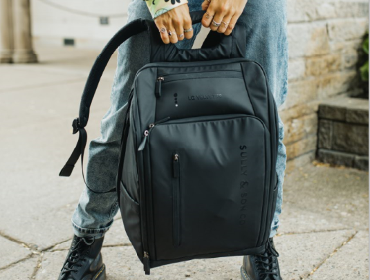 A waterproof backpack designed by George Sully for the fashion-forward LG VELVET Collection.