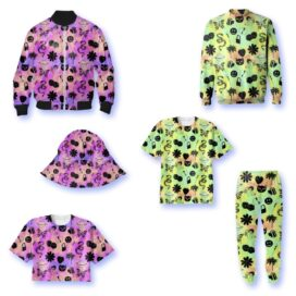 Two vibrant and playful LG VELVET-themed prints designed by Hayley Elsaesser shown on various clothing.