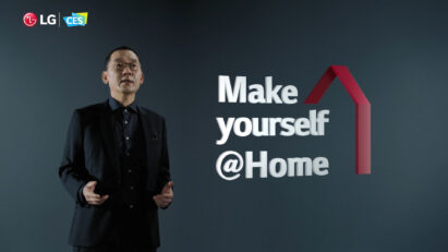 Kim Jin-Hong, the head of LG Electronics Global Marketing Center, presenting the company's latest products under the 'Make yourself @Home' theme during the its CES 2021 online exhibition.