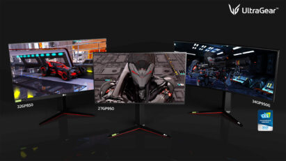 LG's new UltraGear gaming monitor lineup, another CES Innovation Award Honoree, displaying video games in superior quality thanks to high screen resolutions and a wide color gamut