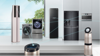LG's home appliances working together to provide a secure, convenient and entertaining living environment.