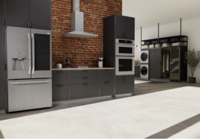 A photo featuring LG's luxury Signature Kitchen Suite and advanced home appliances including Styler and WashTower together in a modern house.