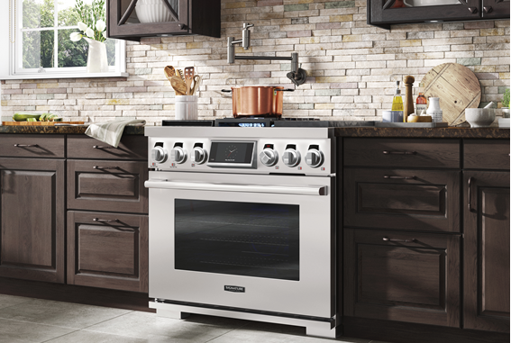 LG's kitchen appliances for the virtual KBIS 2021 displayed in a beautiful home kitchen.