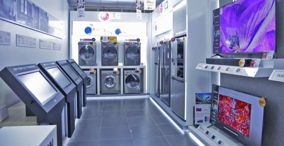 A photo of Africa's first e-Showroom in Kisumu, Kenya, featuring various LG products.