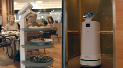 LG CLOi ServeBot bringing pasta and pizza to diners at a restaurant on the left, and it exiting an elevator by itself on the right.