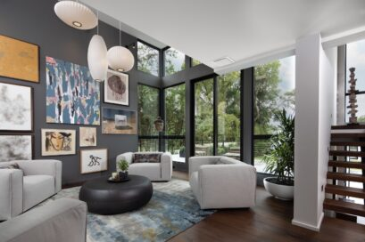 The artsy living room of the TNAR showhome with stylish interior designs and furniture.