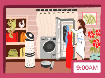 An illustration featuring LG Puricare, an LG washing machine and a woman putting her date clothes inside LG Styler at 9am.
