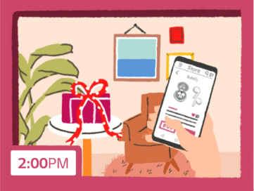 An illustration of someone buying a pair of LG Tone Free earbuds for a Valentine's Day gift at 2pm via the LG ThinQ smartphone app.