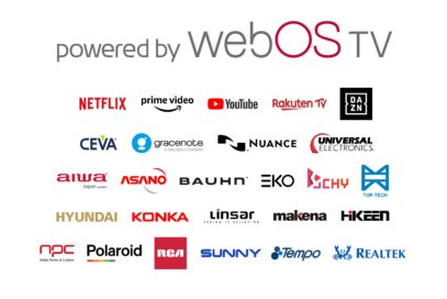 The large 'powered by webOS TV' logo with smaller logos of 26 brands joining the webOS TV ecosystem below