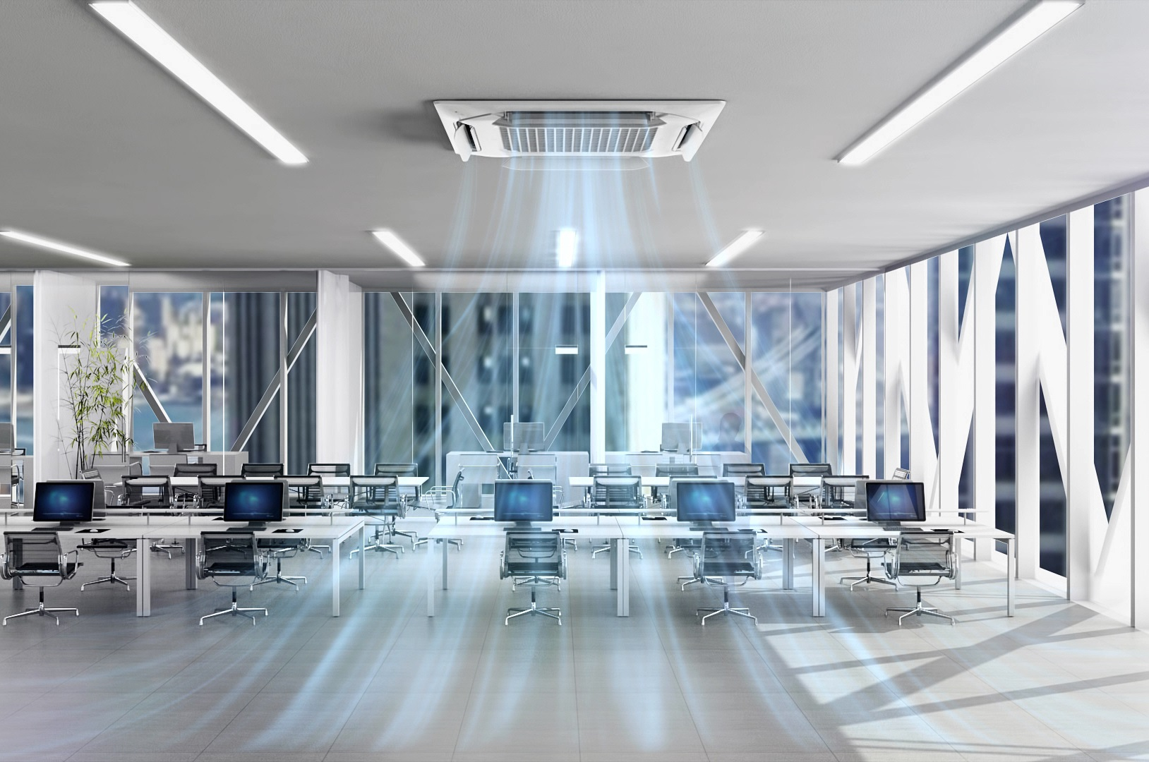An office with Dual Vane Cassette emitting fresh, cool air from the ceiling