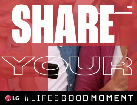 A family of four spending quality time together with the phrase 'Share Your #Life's good moment' overlapping.