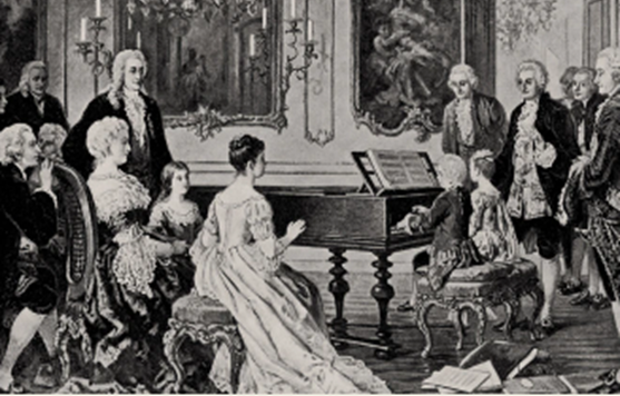 A painting of Maria Anna and Wolfgang Amadeus Mozart playing piano together in front of a crowd
