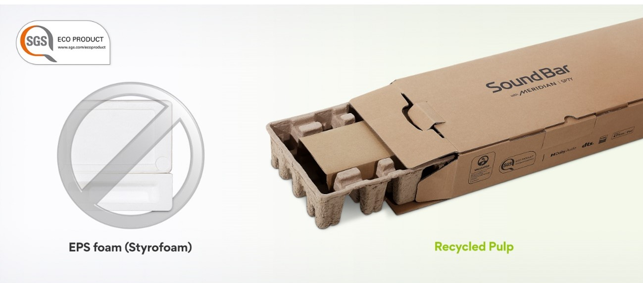 LG uses recycled pulp instead of EPS foam for its soundbar packaging which is far friendlier to the environment