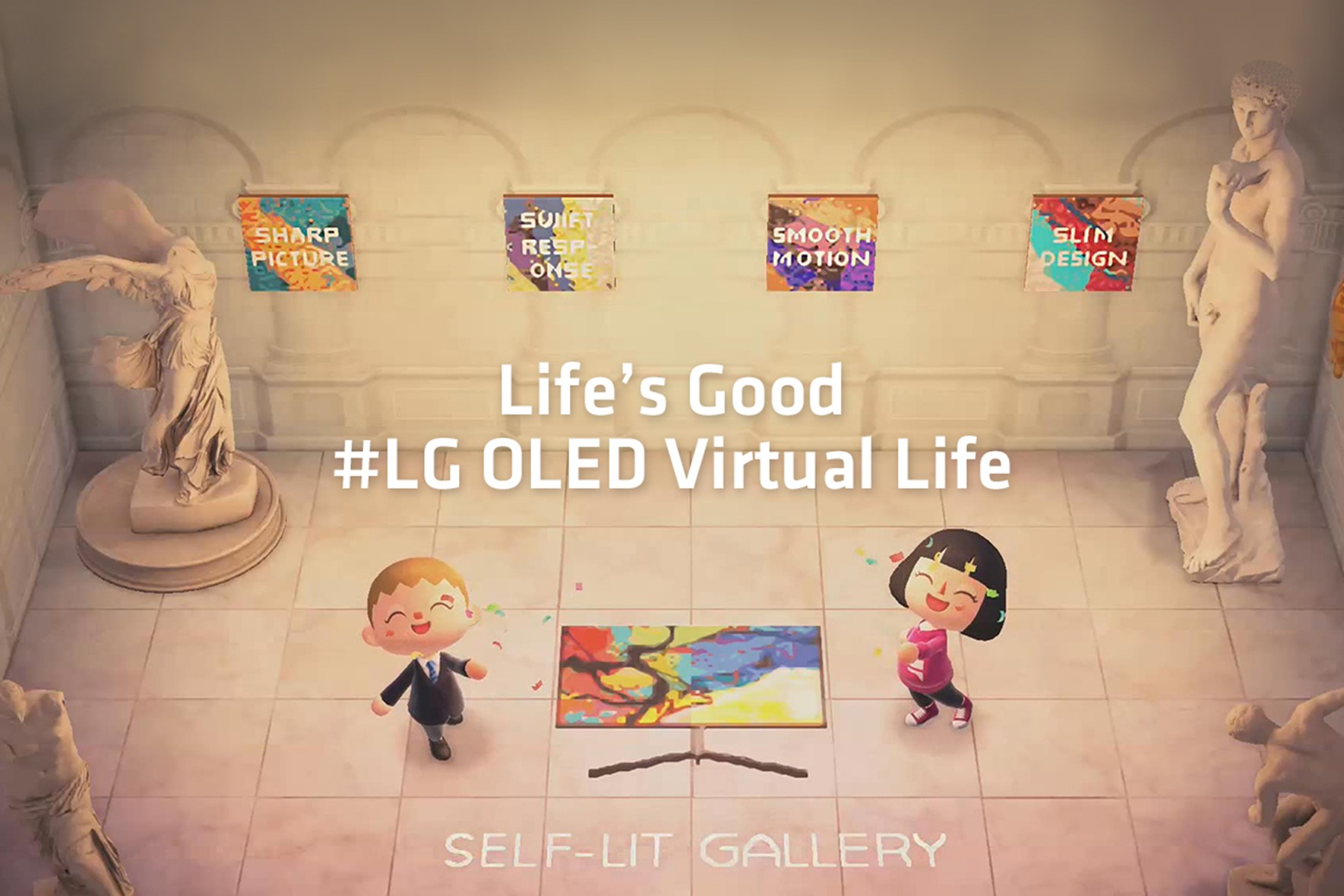 LG OLED TV displayed in a 'self-lit gallery' within popular video game 'Animal Crossing,' with sculptures in each corner and two cute player avatars posing.
