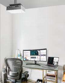A simple home office uses LG's projector, monitor and gram laptop to create the most convenient working environment.