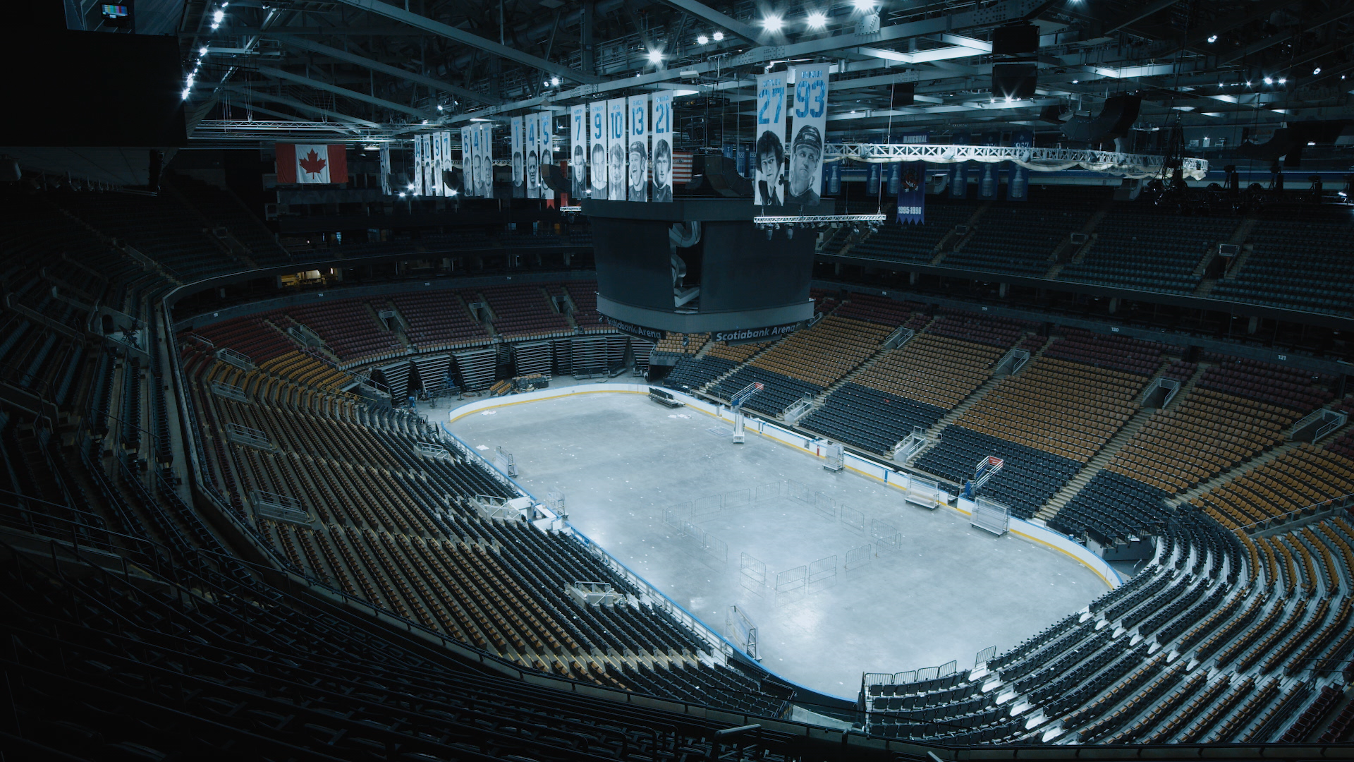 A wide-angle shot of the Scotiabank Arena, home to the NBA's Toronto Raptors and NHL's Toronto Maple Leafs.