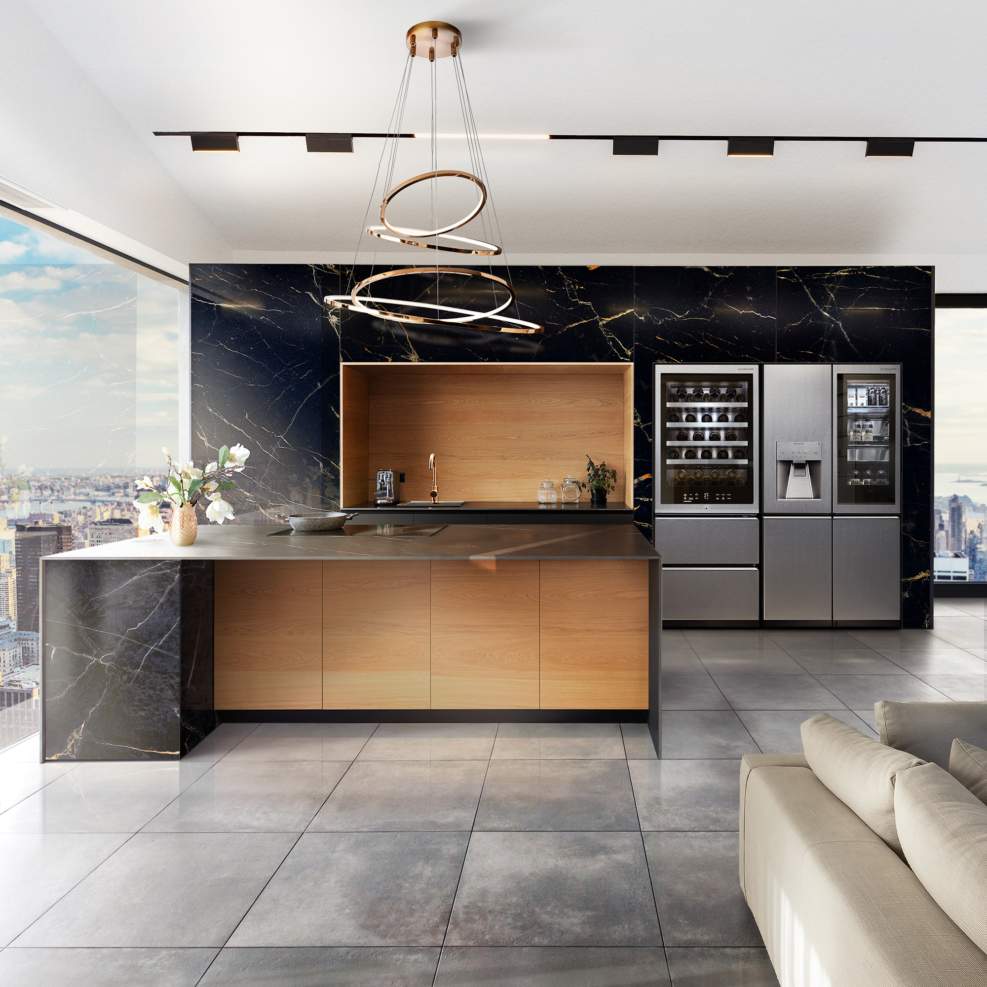 This Nero Portoro marble wall and countertop is the pinnacle of sophistication, the perfect natural backdrop for the textured steel finish of the LG SIGNATURE Refrigerator and Wine Cellar, which breathe innovation into this contemporary space. While the wood and marble bring a sense of classical nature to this modern kitchen, the state-of-the-art appliances have been designed to offer minimalist beauty and outstanding design, with an energy-efficient cooling system that can't be rivaled.