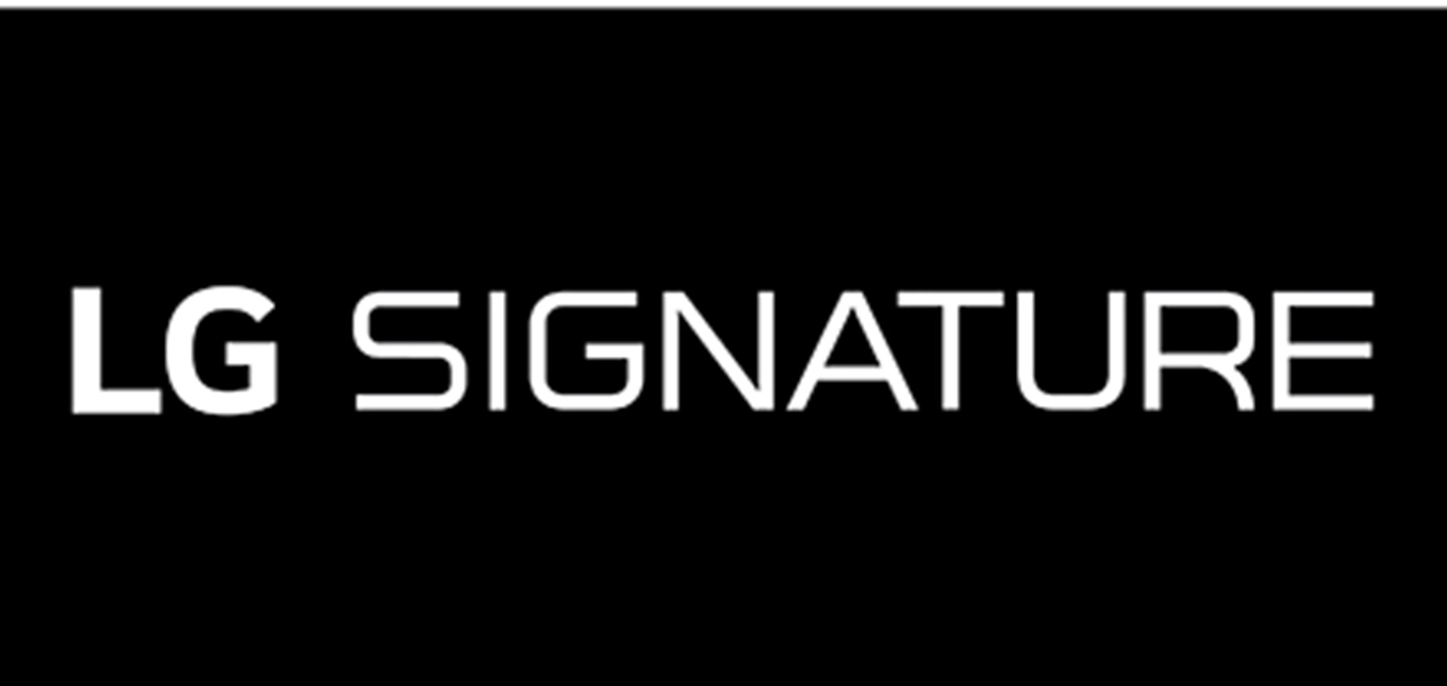 The official logo of LG SIGNATURE, the company's premium lineup, with white text on a black background.