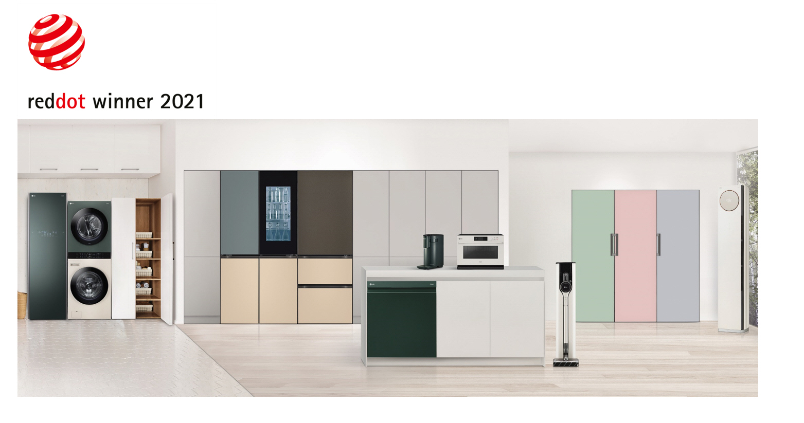 A collection of LG's 2021 Red Dot Award-winning home appliances displayed in a modern setting.