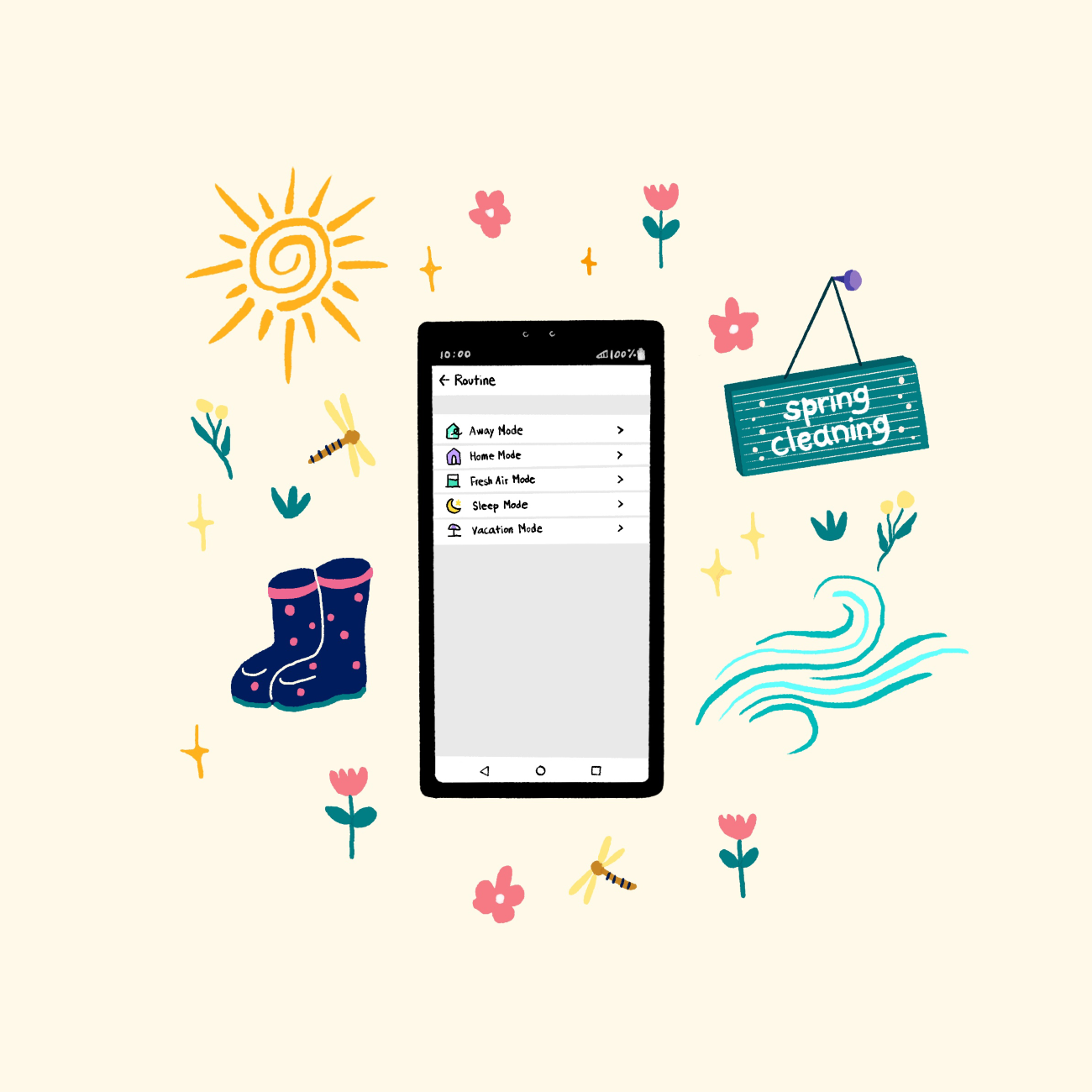 An illustration of a smartphone displaying the LG ThinQ app's Routine feature, with small pictures of flowers, the sun and rainboots surrounding to emphasize spring